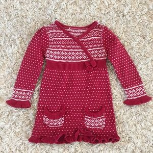 Toddler Girls Long Sleeve Knit Sweater Dress